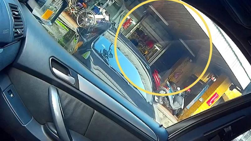 警方透過行車記錄器的反光影像成功逮捕陳姓慣竊。(南港分局提供)