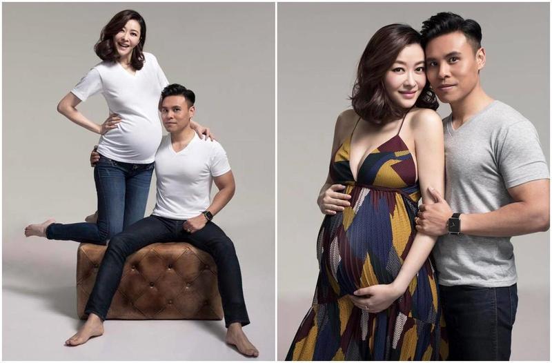 Lynn跟老公郭可頌拍攝一家三口家庭照,挺著大肚的她四肢仍然纖瘦。(STYLE International Management提供)