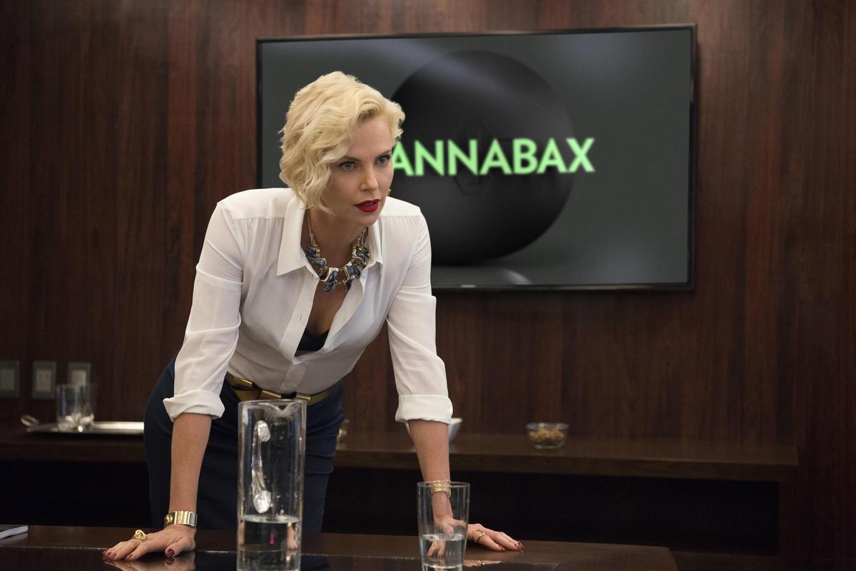 奧斯卡影后莎莉賽隆氣場強大,演起賤嘴女魔頭慣老闆輕而易舉。(CatchPlay提供)