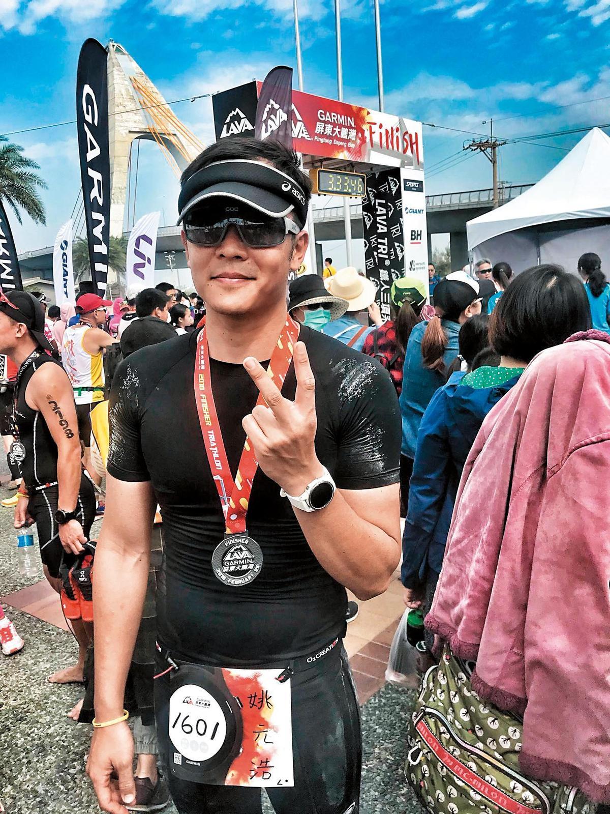 最近姚元浩也熱衷運動競賽,應是受女友王心恬的影響。(翻攝自姚元浩臉書)