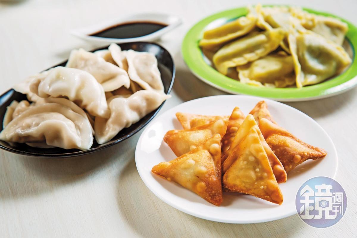 安口的包餡機能做出各國的餃子,例如三角形的印度咖哩餃(前),以及方形的義大利水餃 Ravioli(右後)。