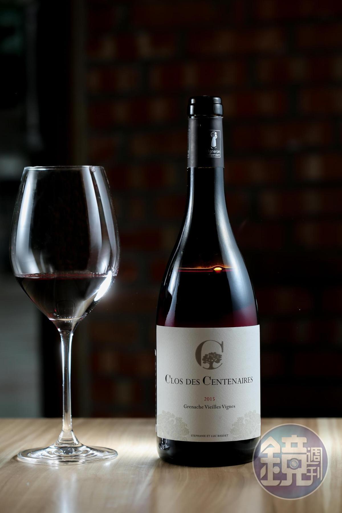 讓味蕾充滿小火花般驚喜的「Luc Baudet Clos du Centenaire Rouge VV, Rhone Valley, France 2015 」。(1,550元/瓶;775元/半瓶)