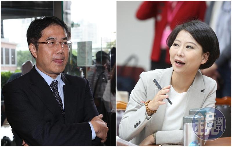 立委陳亭妃(右)在常會中提及本刊2月上旬揭露的黃偉哲(左)及其國會辦公室主任被葉姓台商控告詐騙案。