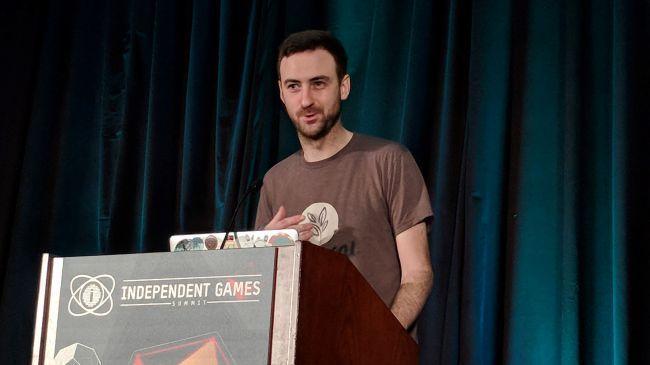 Mike Rose 在遊戲開發者大會上發表令人沮喪的演講。(圖/PC Gamer)