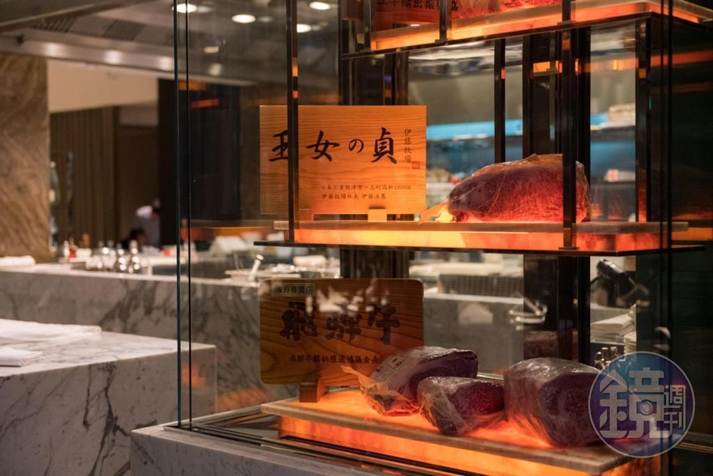 造價近百萬的熟成展示櫃,陳列日本A5和牛,有如展示精品。