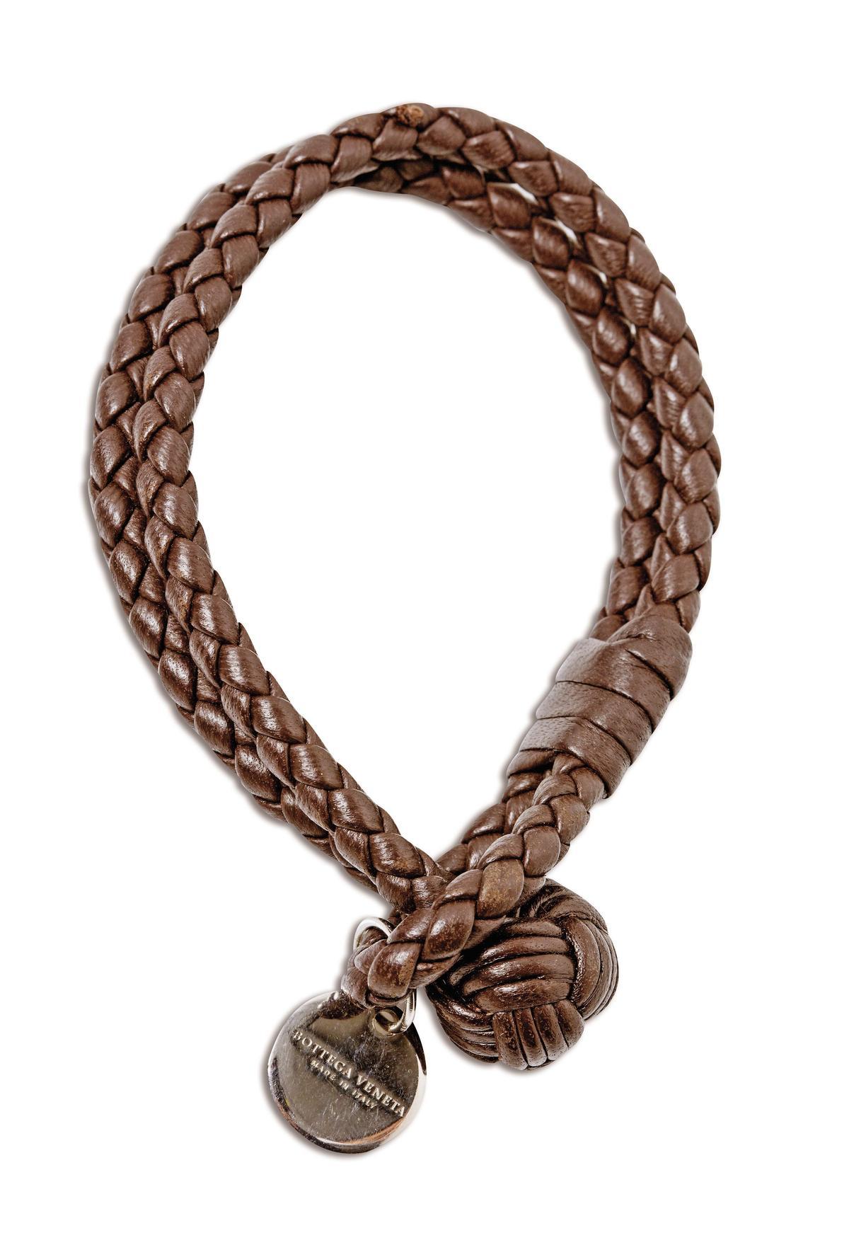 BV雙圈編織皮手環,約NT$8,000。