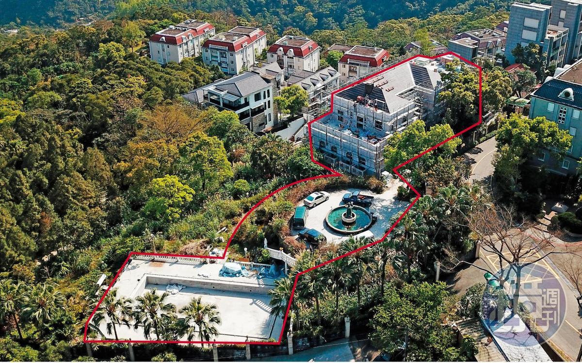 富麗堂皇、號稱10億元的王羽豪宅(紅圈處),外傳已在數年前由中國創投公司所購下。