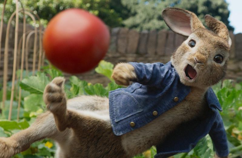 真人動畫電影《比得兔》劇情描述兔子比得兄妹與鄰居麥奎格家族之間的人兔大戰,會扔番茄、設陷阱的比得雖然很中二卻超可愛。(索尼提供)