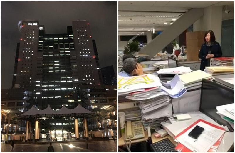 新北市府在夜間仍燈火通明,新北市議員劉美芳突襲新北市府局處,發現過勞問題。(翻攝臉書)