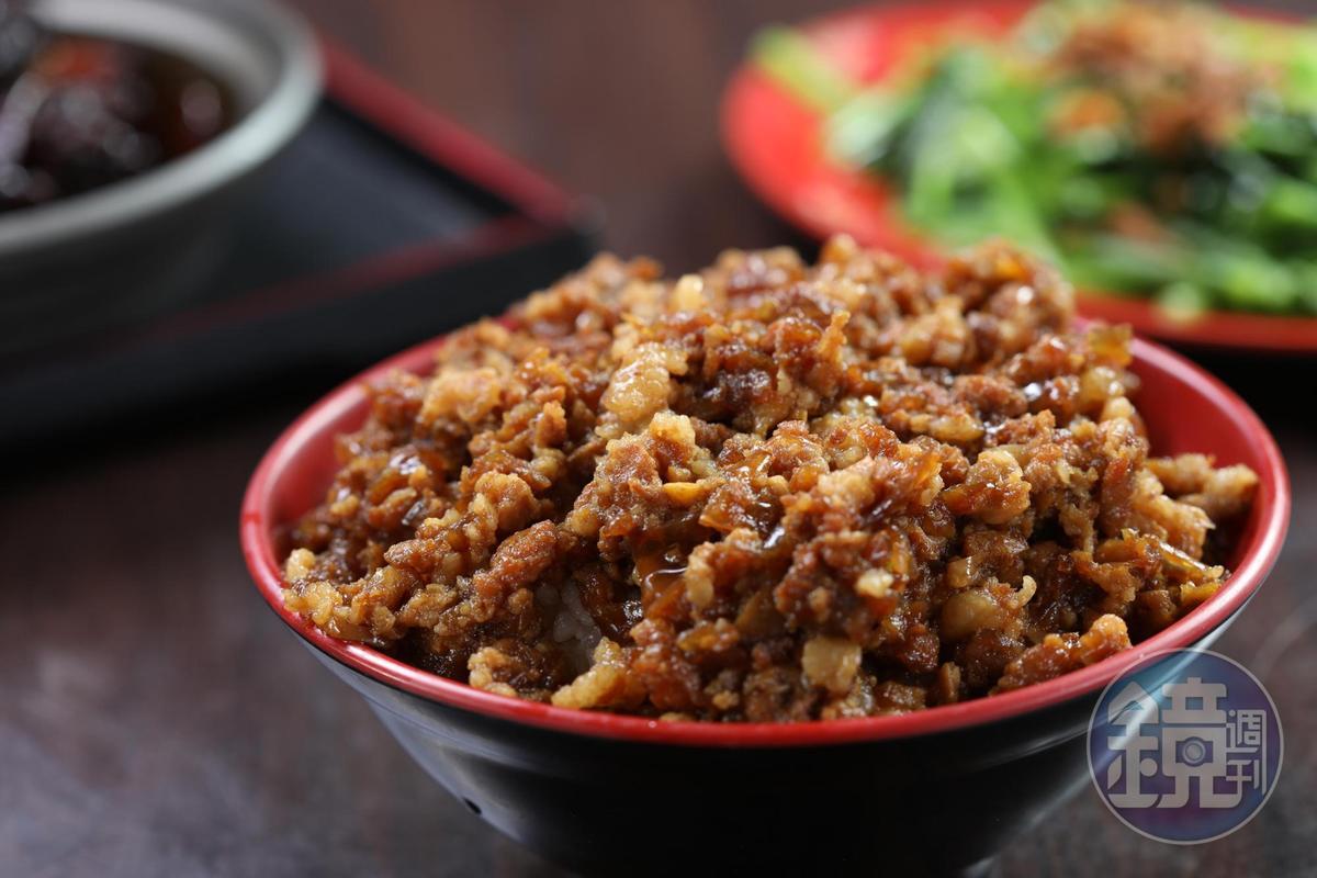 「大馬特色碎肉飯」有蝦米濃郁的香氣,肉末鹹香、有洋蔥甜味。(80元/小碗)