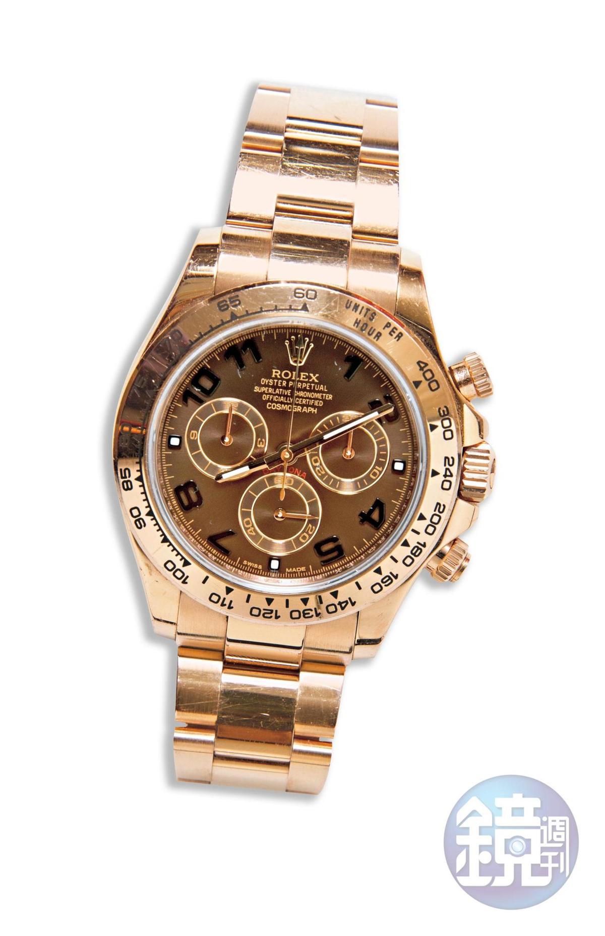 媽媽送的Rolex Daytona玫瑰金錶,約NT$1,100,000。