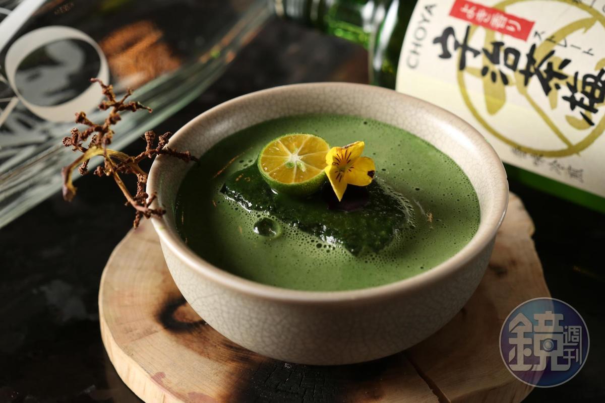 「Haru-teani」一入口能喝到現刷抹茶般的綿密泡沫,茶香滿盈口鼻,尾韻有淡淡花香。(450元/杯)