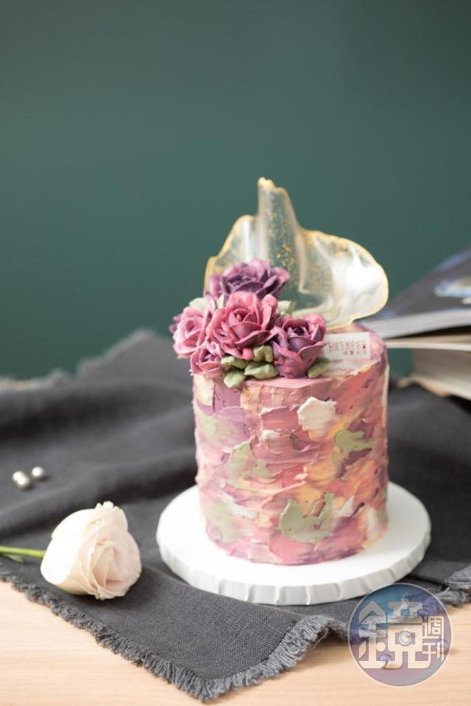 「油彩系透明帆擠花款蛋糕」抹面如油畫效果,讓人捨不得吃。(3,800元/4吋高款)