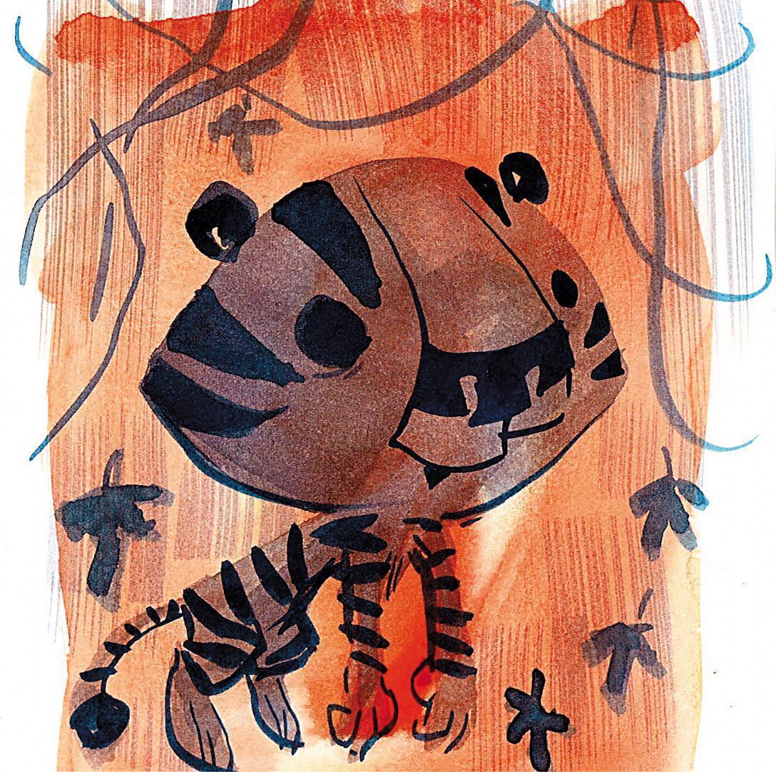 史考特莫斯也出版繪本和漫畫書,其中《Tiger ! Tiger !Tiger !》充滿自傳色彩,書中的老虎象徵他自己。(翻攝自comicartfans.com)