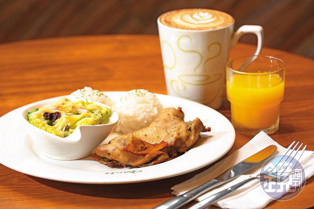 香草烤雞腿排是丹堤暢銷餐點,從創業初期就有。(單點158元/套餐196元)