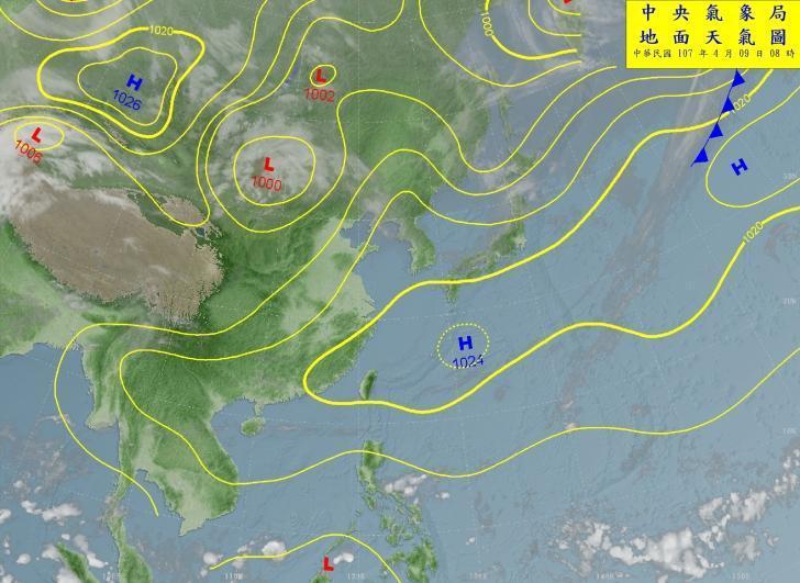 9日上午8時的地面天氣圖。(中央氣象局提供)