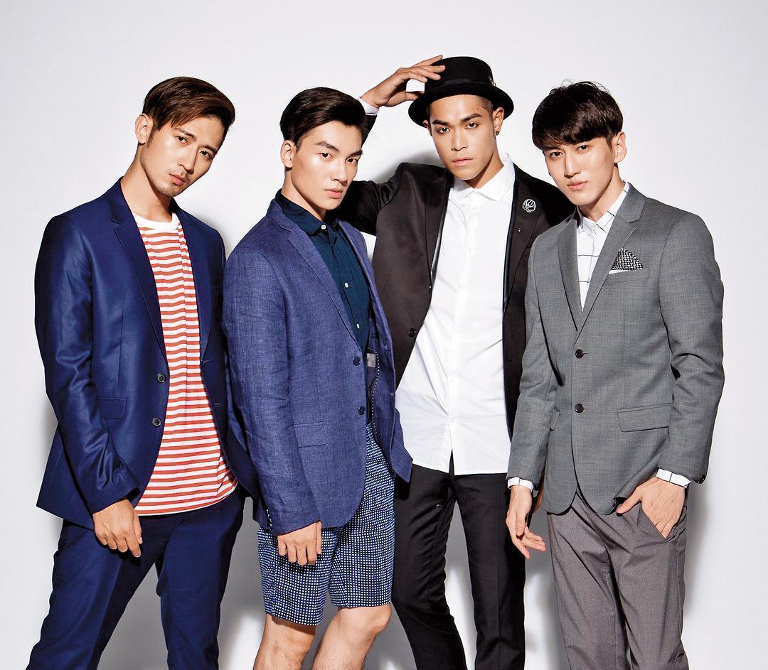 張洛偍(左二)曾是男團4ever的成員,現在則朝戲劇全力發展。(周子娛樂提供)
