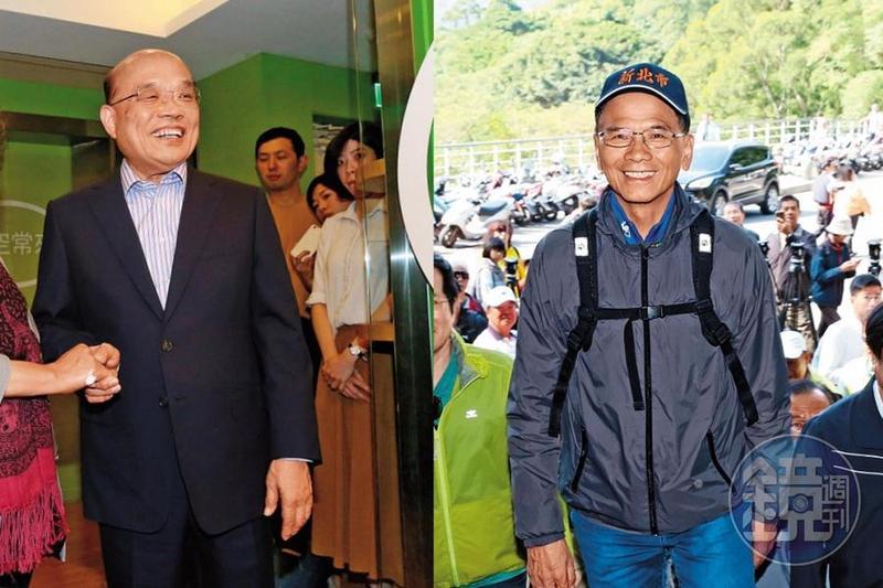 民進黨2份新北市長關鍵民調指出,游錫堃(右)與侯友宜對陣,有超過2位數的差距,蘇貞昌(左)與侯則不相上下。