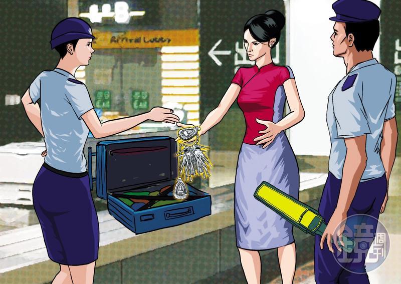 李姓空姐(中)2月赴日本北海道時,攜帶外層漆銀的佛牌、鑰匙闖關遭逮,海關將銀漆抹除後,赫然發現是黃金。