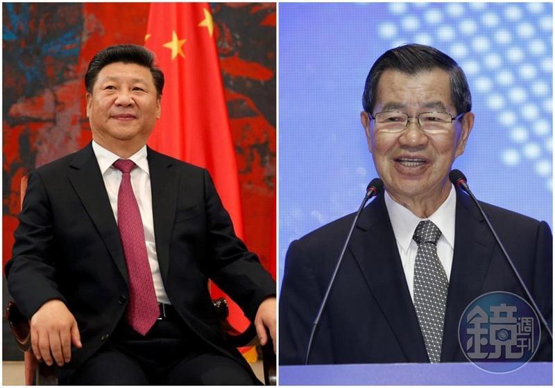 博鰲亞洲論壇2018年年會8日至11日在中國海南博鰲舉行,蕭萬長(右)率領台灣企業家代表團參與。(左圖翻攝自大華網)