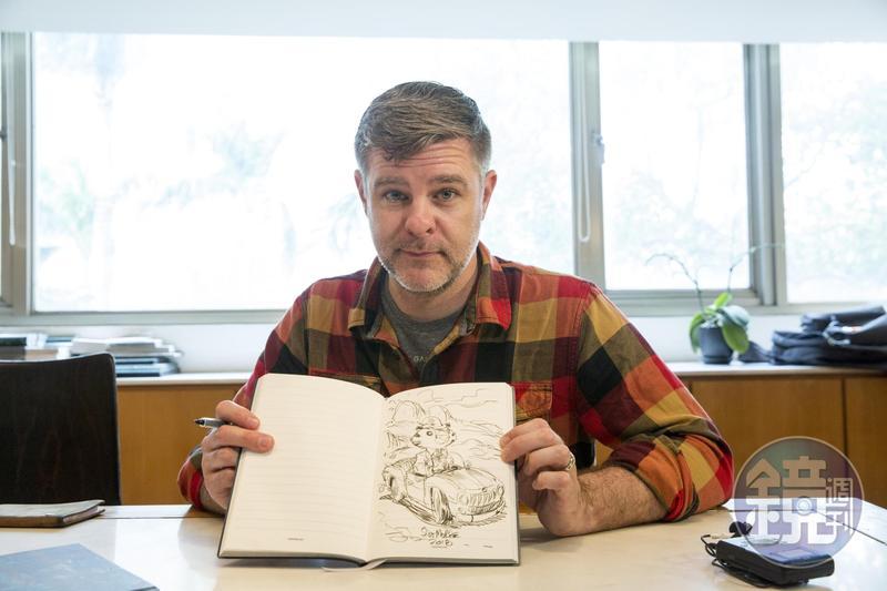 史考特莫斯接受本刊專訪,訪問結束後主動在現場畫了一幅素描當作紀念。
