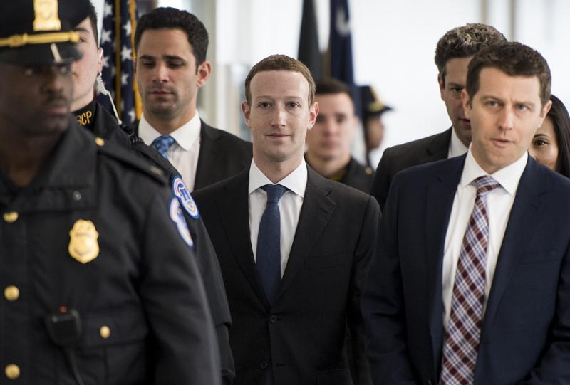 2018年4月9日,美國華盛頓,臉書創辦人祖克柏赴國會與議員會面,他將出席國會的兩次聽證會。(東方IC)