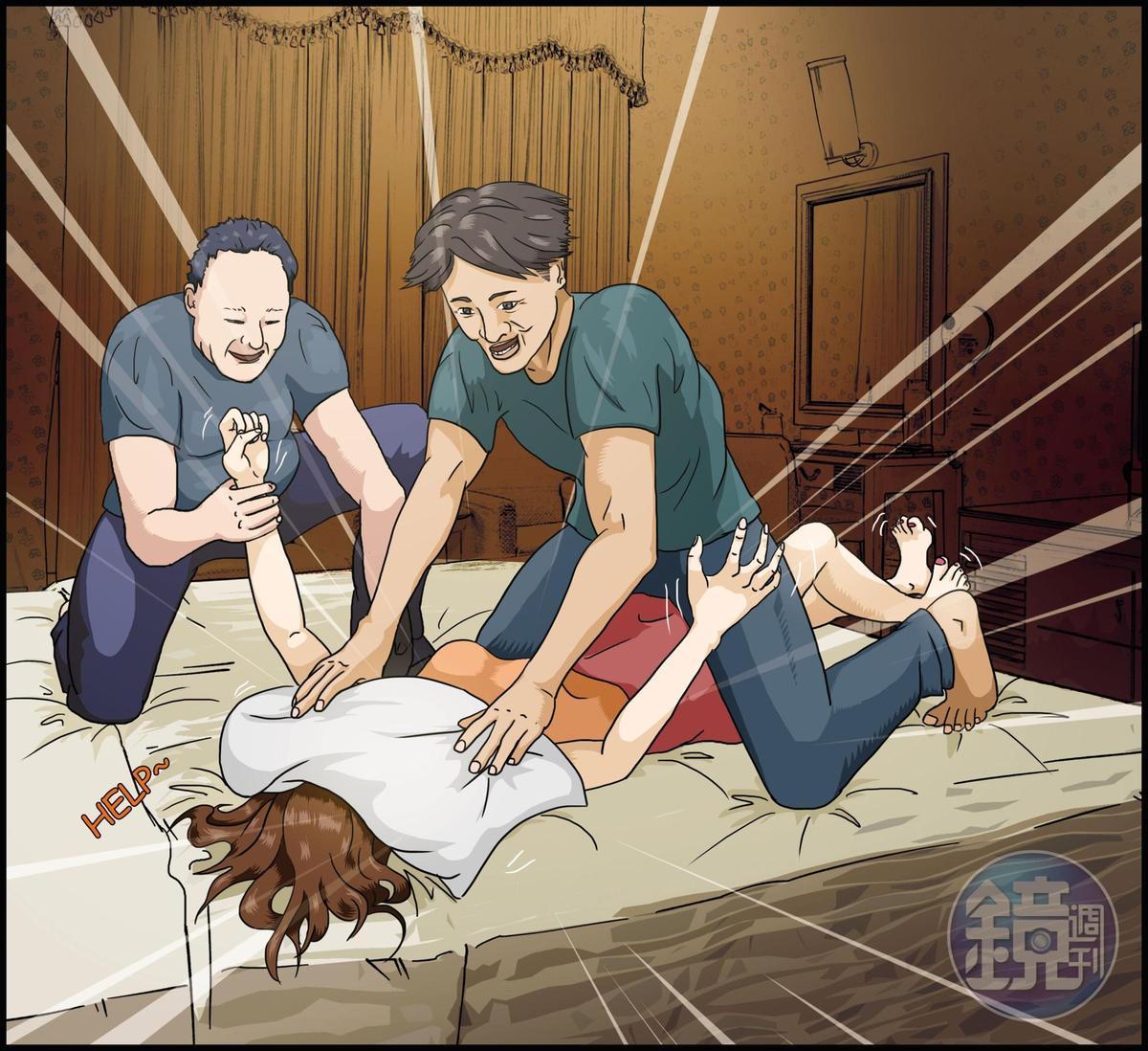 顏嫌與盧嫌將檳榔西施帶往汽車旅館,並用枕頭悶住被害人,以窒息式性愛強暴得逞。