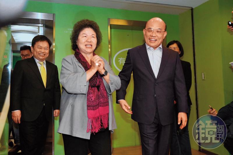 陳菊(左)9日拜會蘇貞昌(右),勸進蘇參選新北市長。