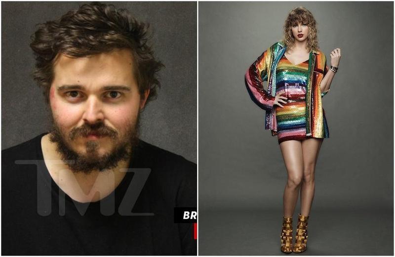 26歲瘋狂歌迷布魯斯(左,翻攝自TMZ)不僅為了泰勒絲(右,翻攝自泰勒絲IG)搶銀行,還把錢丟進她家圍牆想送給她。