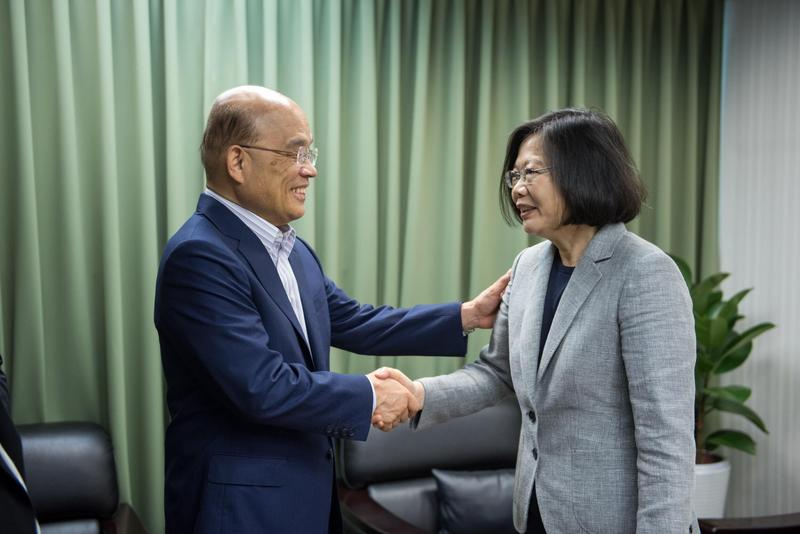 蘇貞昌今到民進黨中央黨部與蔡英文會面。(民進黨提供)