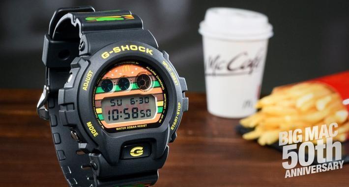 卡西歐G-Shock系列手錶為慶祝誕生35週年,與適逢大麥克推出50週年的麥當勞推出聯名紀念錶。
