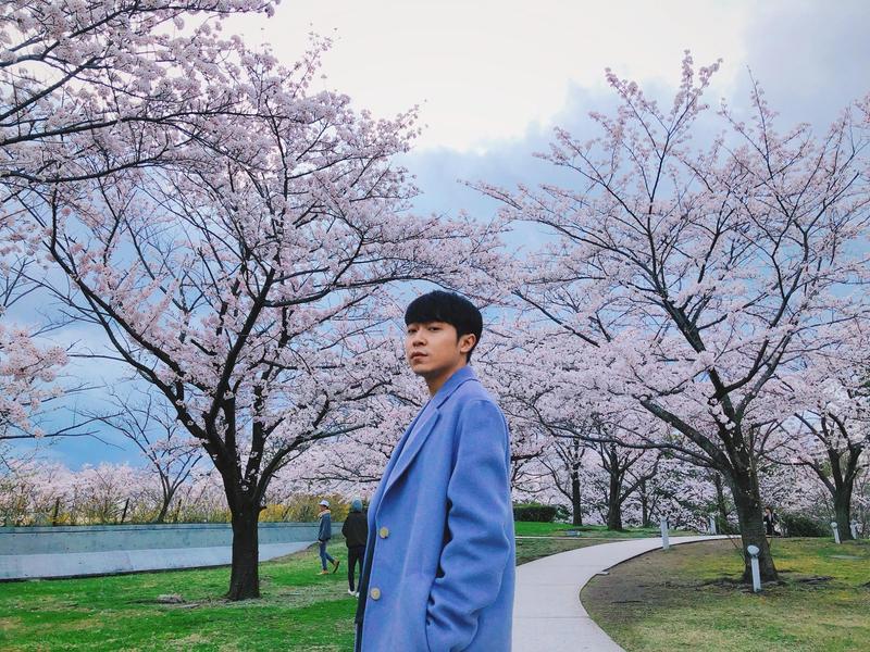 青峰近期飛到日本追星外,他也順便賞櫻花。(青峰本人提供)