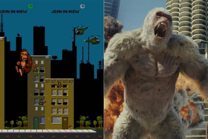 電影《毀滅大作戰》(Rampage)是根據同名街機遊戲改編。左為遊戲截圖,右為電影畫面。(華納兄弟提供)