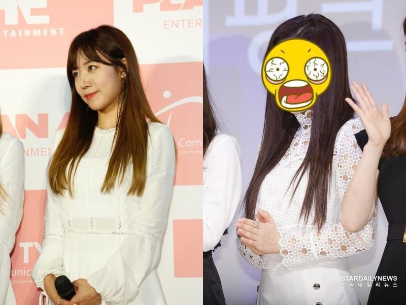 韓女團APINK主唱金南珠2年前(左)來台超清純,今天出席活動驚傳變臉。(右為網路圖片)
