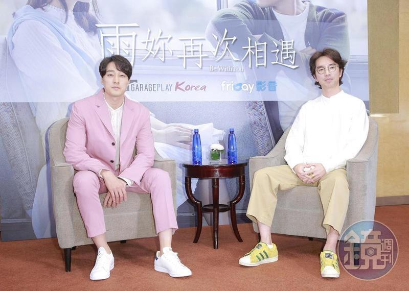 蘇志燮(左)與李章焄來台宣傳,坦言自己的性格與電影中男主角很像。