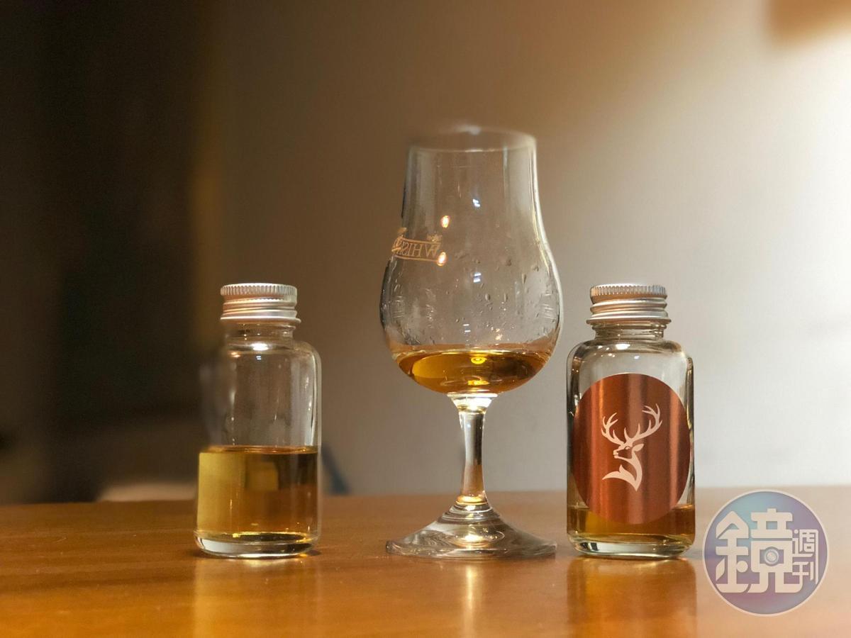 過桶台灣埔桃酒桶2年的格蘭菲迪24年波本桶威士忌,葡萄乾香氣十分迷人,尾韻清爽。