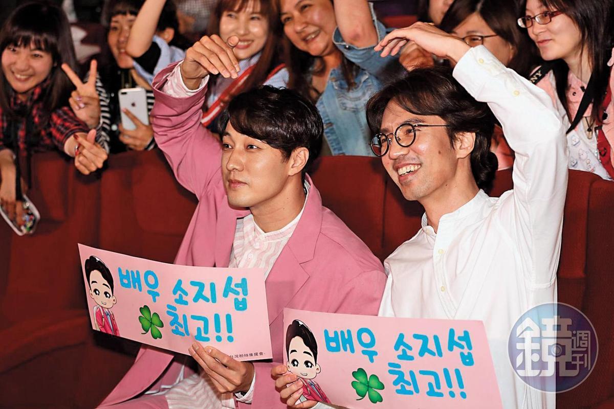 李章焄(右)、蘇志燮三月底連袂來台宣傳,出席逾十場特映會與觀眾互動。