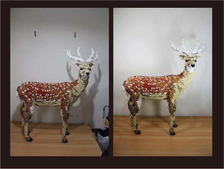 陳冠州運用印象派油畫光點的技巧拼出這隻梅花鹿。他當時住屋狹小,模型就立在床上,睡覺時再把模型搬下床。(翻攝自陳冠州臉書)