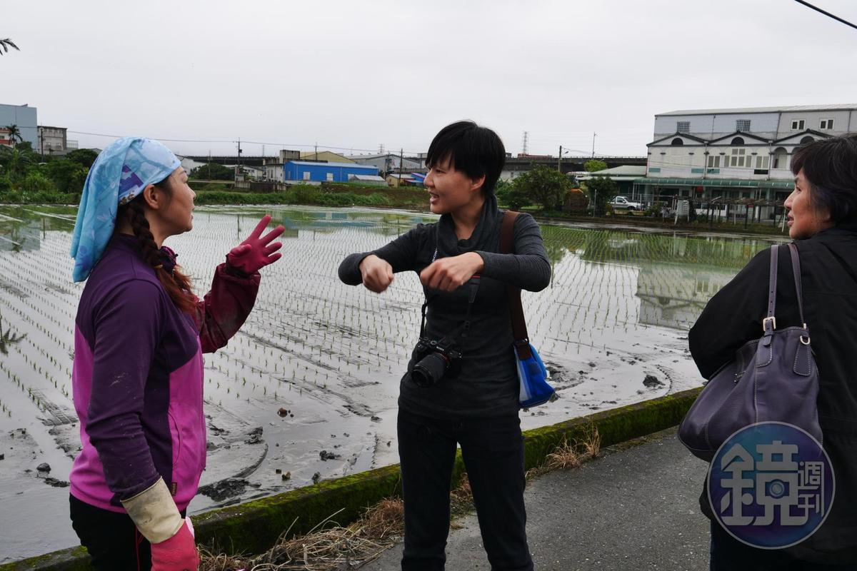 多次來訪產地的顧瑋(中)、陸莉莉(右),與雪福米農人游麗雪(左)交流。