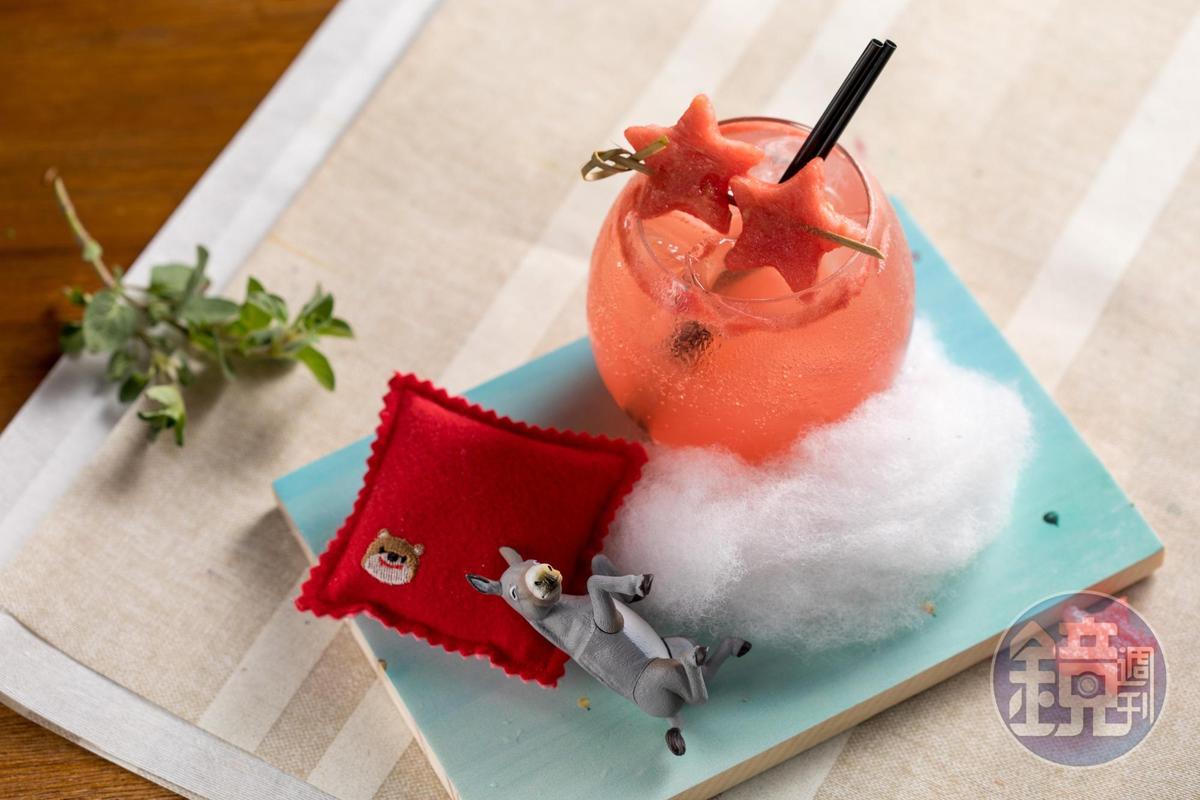 「睡吧!寶貝」用西瓜、柑橘為基調,清爽化解伏特加的酒精味。(300元/杯)