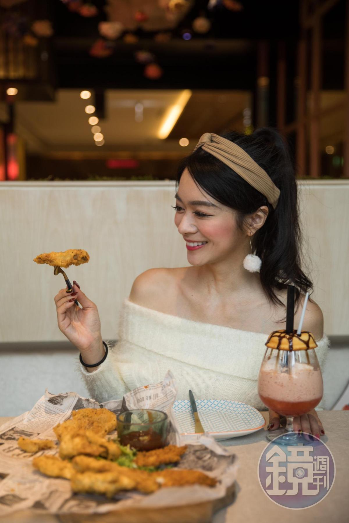 IG有3萬多名粉絲的「特盛吃貨女孩」Celine來用餐,下酒菜的份量果然也很特盛。
