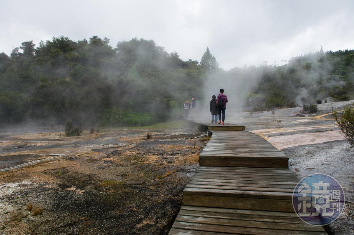 木棧道鋪架在蒸騰地表之上,歩歩驚心。