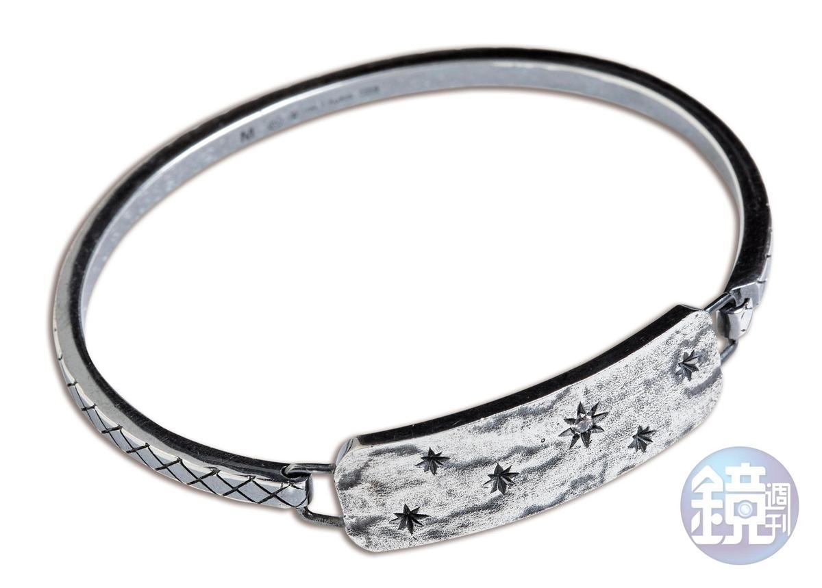 Bottega Veneta鋯石純銀手環,NT$21,000。