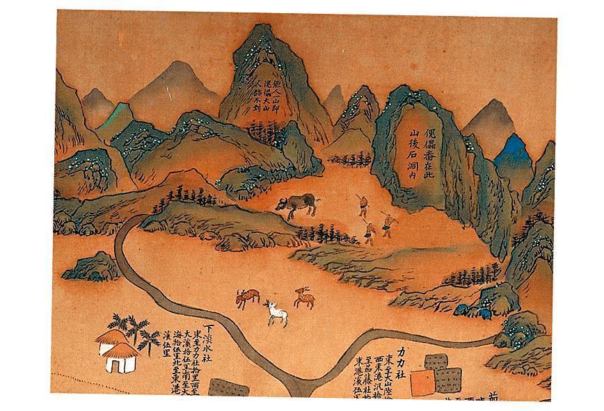 《康熙臺灣輿圖》繪有當時台灣人文地理,其中高屏地區寫有「傀儡番在此山後石洞內」的字樣,正是小說《傀儡花》的故事發生地。(翻攝自國立臺灣博物館官網)