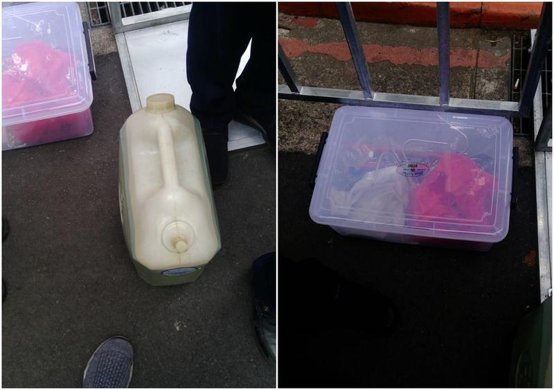 反年改團體集會遊行現場發現汽油桶1桶外,盒內裝有鐵鍊6條、油壓剪1把、鐵鈎6個等危險物品,遭警方扣留代保管。(警方提供)