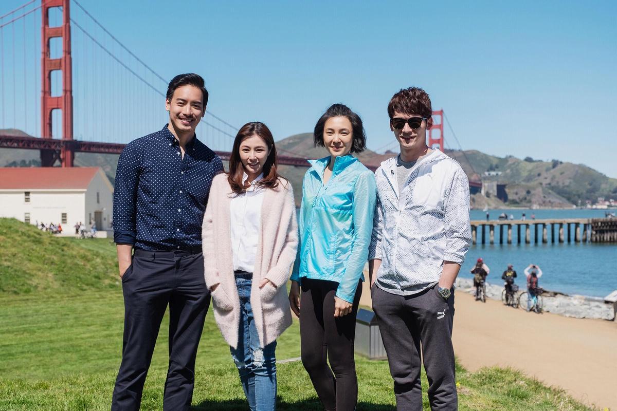 溫昇豪(右起)曾珮瑜、陳怡蓉、黃柏鈞主演《雙城故事》,宣布正式殺青。(青睞影視提供)