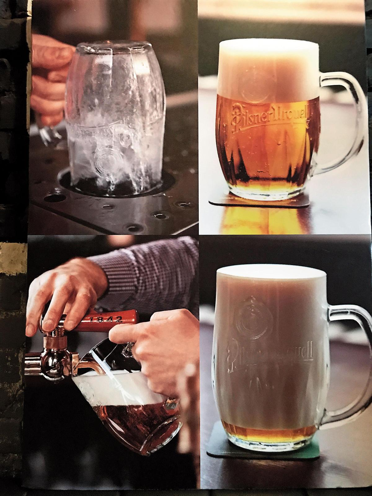 拉格啤酒顏色大多為金黃色、泡沫綿密,口感較為乾爽。圖為能夠拉出完美泡沫的皮爾森歐克生啤酒。