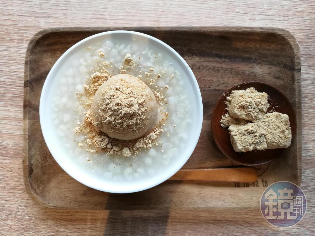 薏仁湯與黃豆粉冰淇淋成為絕配的「路過・小亀有」。(60元/碗)