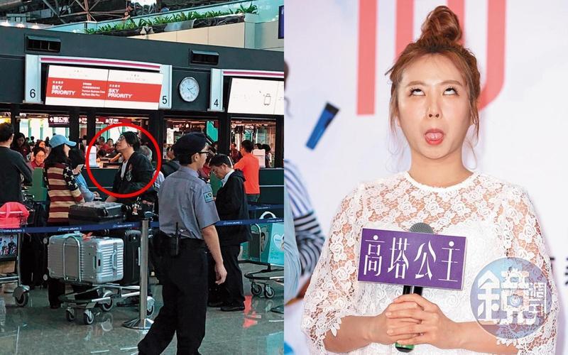 本刊讀者直擊腫脹的朱孝天(左)帶著老婆去機場,茵聲(右)是搞笑網紅出身沒啥偶包,所以表情顯得特別放肆。