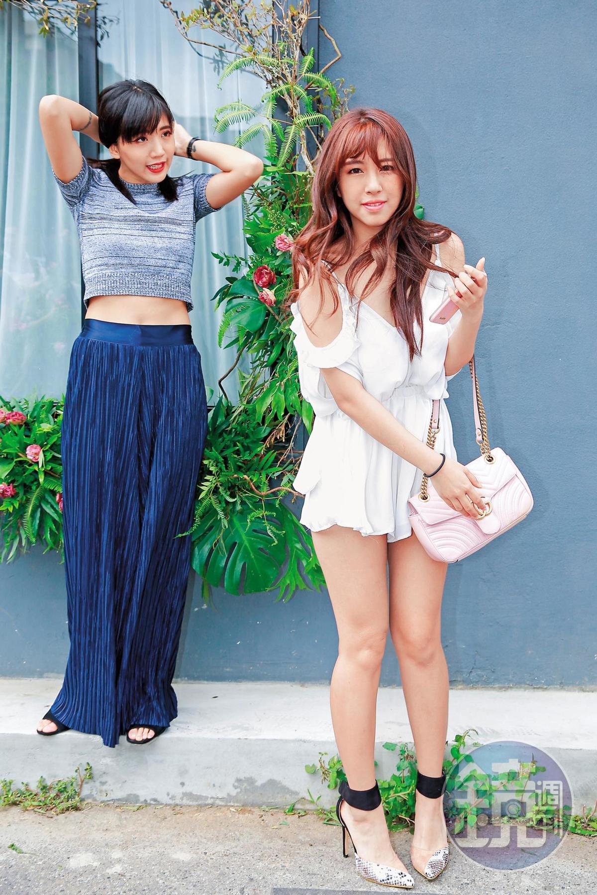辜莞允(右)出席陳艾琳(左)花店開幕時露得很多,比女主人還有看頭。